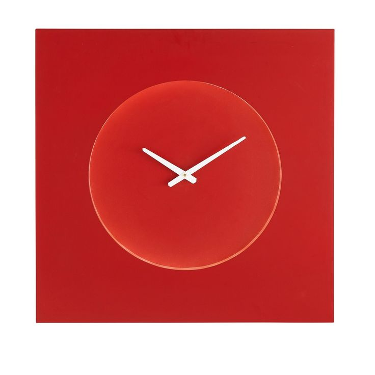Quadratische Wanduhr mit Beleuchtung rot