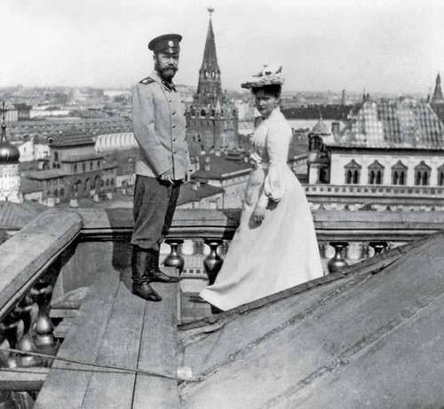 Nicky & Alix on top of the Grand Kremlin Palace, 1903