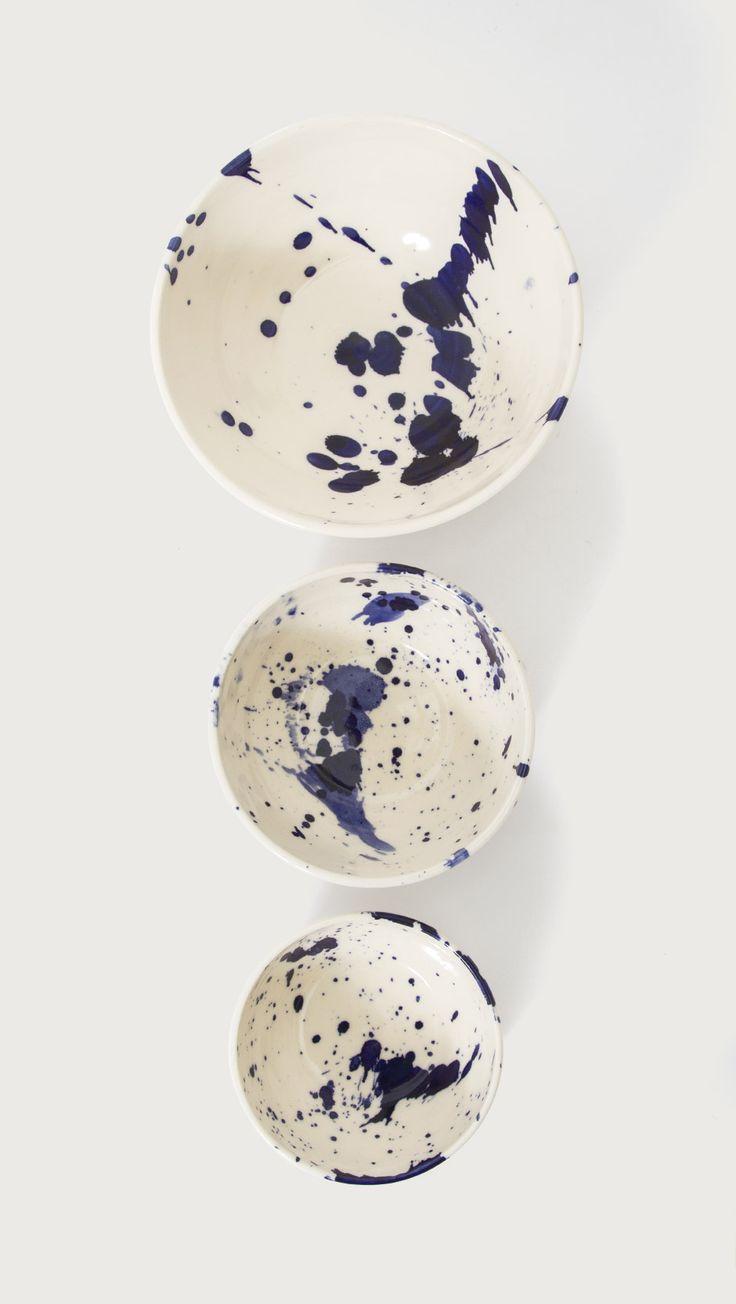 Splattered Ceramic Serving Bowl Set by Chris Earl