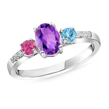 Angara Oval Pink Tourmaline Three Stone Bypass Ring in 14K White Gold O8DqEOENd