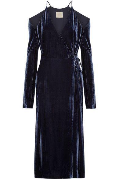 Dion Lee - Cold-shoulder Velvet Wrap Dress - Navy - UK10