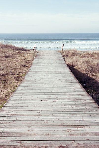 Boardwalk down to sea