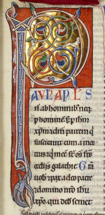 illustration médiévale : Petrus Lombardus, 1160, Collectanea dans l'épître de Paul. 12e siècle, manuscrit, lettre P, enluminure
