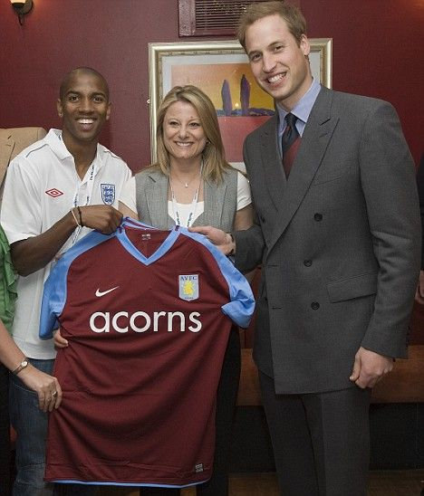 Prince William receives a special Aston Villa jersey by Ashley Young & Sharon Barnhurst