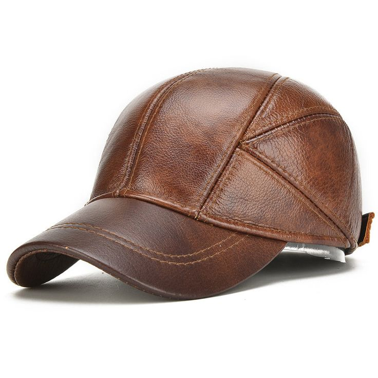 New Mens Winter Genuine Leather Baseball Caps With Ear Flaps Outdoor Warm Trucker Hats