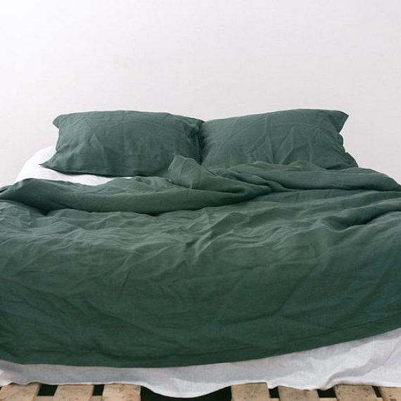 EMERALD Natural Linen Bedding Set (dark-green): Duvet Cover (US Twin/us Full/us Queen/US King) + 2 pillow cases. Ready to ship