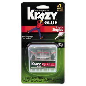 Krazy Glue All Purpose Single Use Super Glue  - Liquid - 0.5 oz Size - 4 Tubes/ Pack