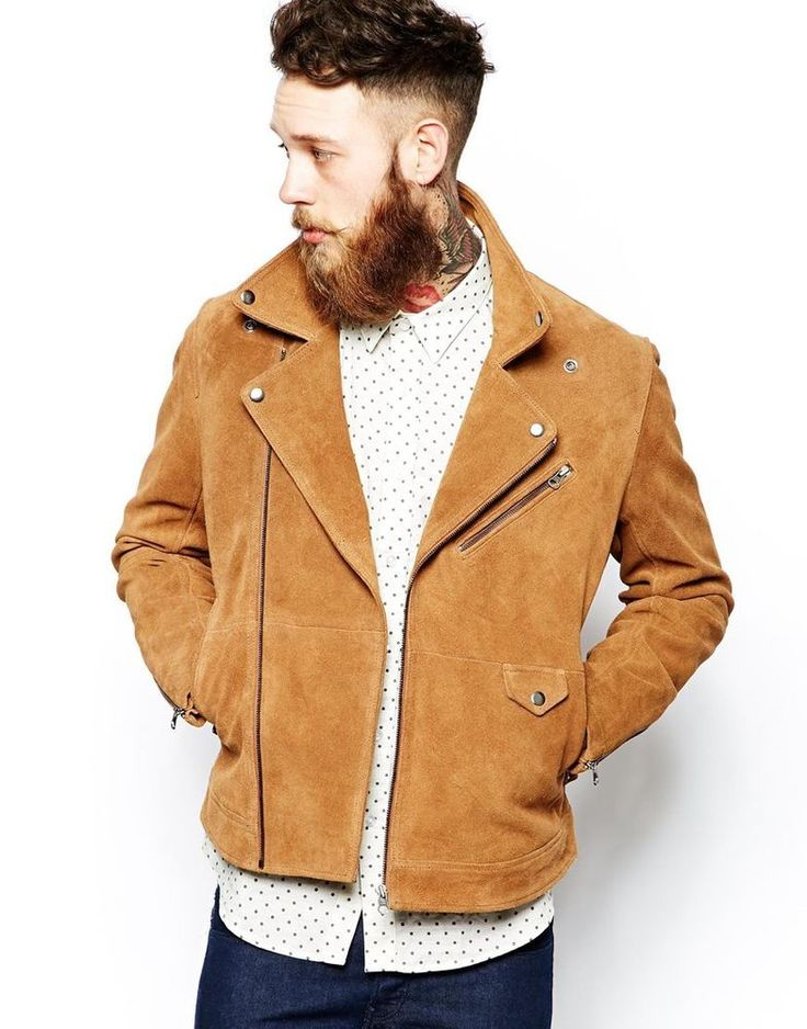 ASOS Men s Suede Biker Jacket in Tabacco Size XXL Chest 44-46  rrp £125