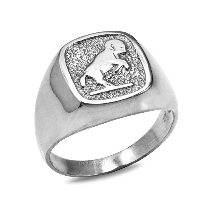 LA BLINGZ 14K Polished White Gold Aries Zodiac Sign Necklace