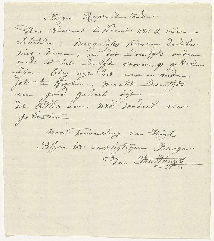 Jan Bulthuis | Brief van Jan Bulthuis waarin hij twee schetsen ter keuze aanbiedt, 1795, Jan Bulthuis, 1795 | Handgeschreven brief van Jan Bulthuis waarin hij de burgerrepresentant twee schetsen ter keuze aanbiedt, 1795. Ontwerpen voor de allegorische decoraties opgericht te Amsterdam bij het Alliantiefeest op 19 juni 1795.