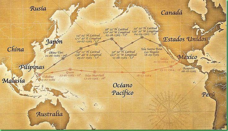 La ruta que recorría el Galeón de Manila-Acapulco. Después, esas mercancías seguían su recorrido por tierra hasta la costa oriental de México, de donde partían en barco rumbo a España.