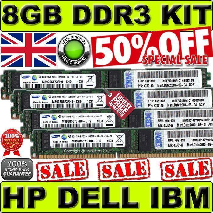 8GB(4x2GB)PC3-10600R DDR3 ECC Memory KIT For Dell PowerEdge R310 R410 R415 R510