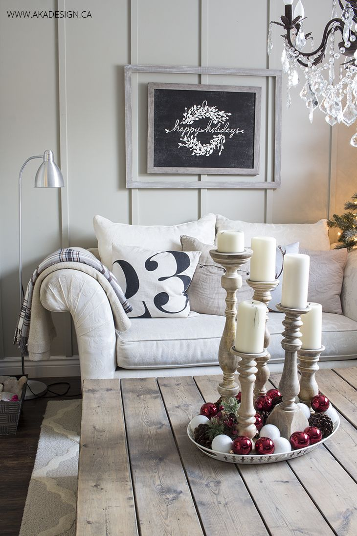 AKA Design Living Room Christmas 2015 - love the framed wall art. Even with out the happy holidays chalkboard art, could use it for year round idea above the couch