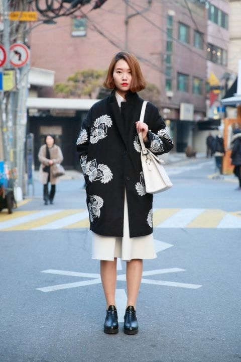 printed coat ##streetstyle Flower print (Korean fashion)