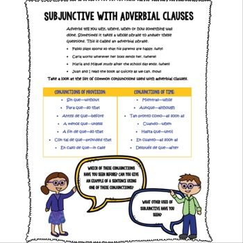 Spanish Subjunctive with Adverbial Clauses subjuntivo ...
