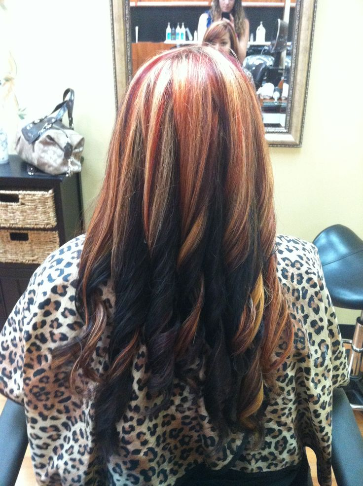 Dark Brown Hair With Red And Blonde Highlights