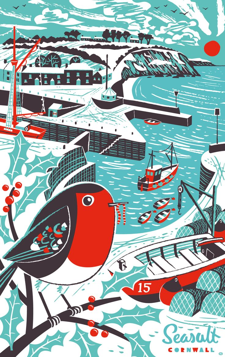 Mid-century style Christmas tea towel print of robin and snowy Charlestown Harbour. By Matt Johnson for Seasalt Cornwall.