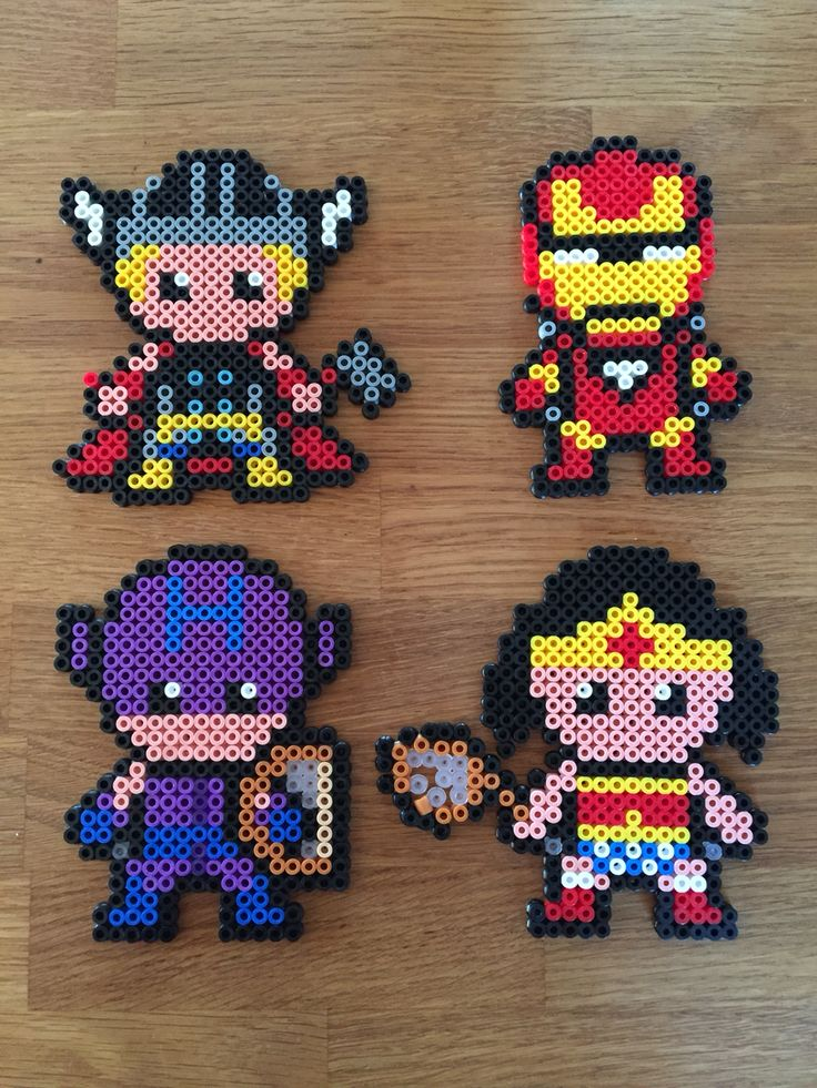 Thor, Ironman, Hawkeye, Wonder Woman - superheroes hama beads perler
