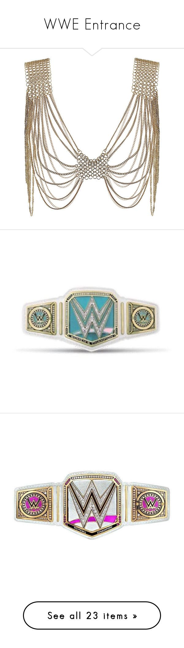 """WWE Entrance"" by rayvrayv98 ❤ liked on Polyvore featuring jewelry, necklaces, accessories, colares, gold, antique gold jewellery, antique gold jewelry, antique gold necklace, weapons and bracelets"