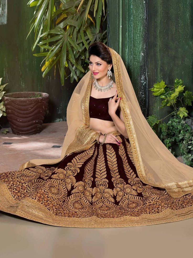 Flamboyant velvet Lehenga is dyed on maroon color. Item Code: GNAL7113 http://www.bharatplaza.com/new-arrivals/lehengas.html