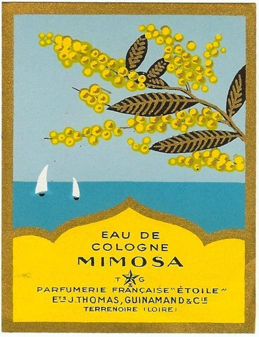 Eau de Cologne Mimosa Old French Perfume Label CIRCA1948 Art Deco Style Sailing | eBay