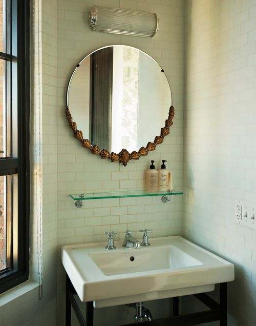 want that mirror: Vintage Mirror, Glasses Shelves, Small Bathroom, Hotels Bathroom, Williamsburg Brooklyn, Design Interiors, Subway Tile, Eight Hotels, Bathroom Mirror
