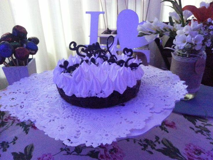Torta brownie con merengue para casamiento