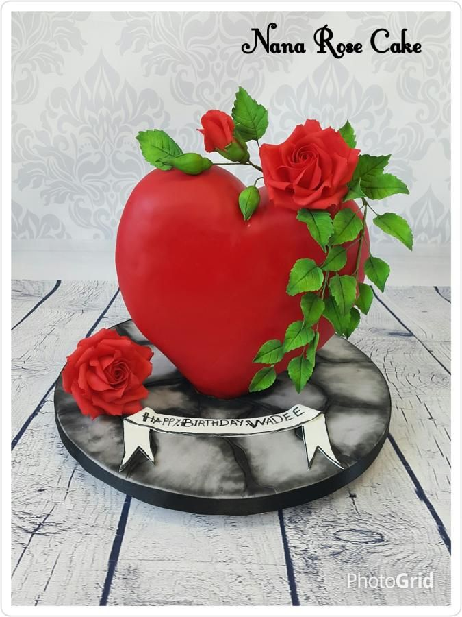 Red Heart with Rose  by Nana Rose Cake  - http://cakesdecor.com/cakes/262078-red-heart-with-rose