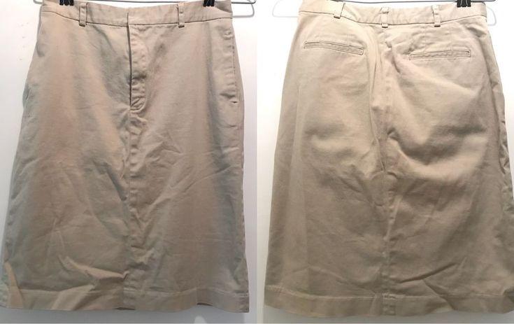 "Preppy Gap 90s Khaki Cotton Skirt Tan Stretch Pencil Work Sz4 Waist 26""/Hip 34""  |"