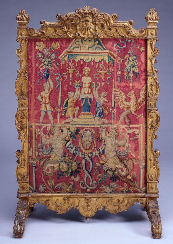 Fire Screen with a panel of rose-colored tapestry 18th century France