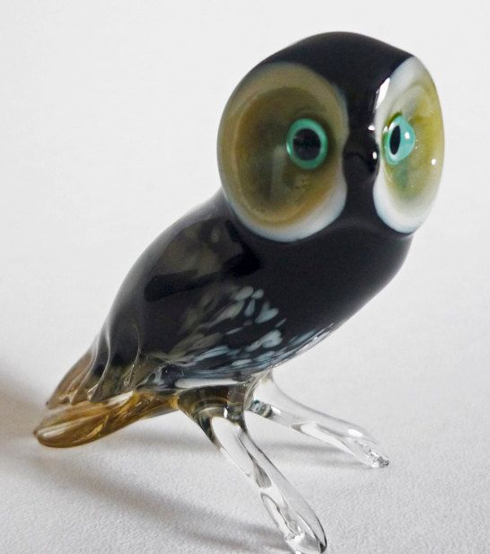 Owl Glass Art Figurine