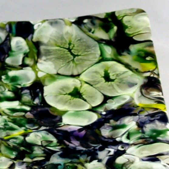 This is one of my all time favorite pieces of boiled glass, opening the kiln with this piece was a Oh Wow moment for me! The deep greens, purples