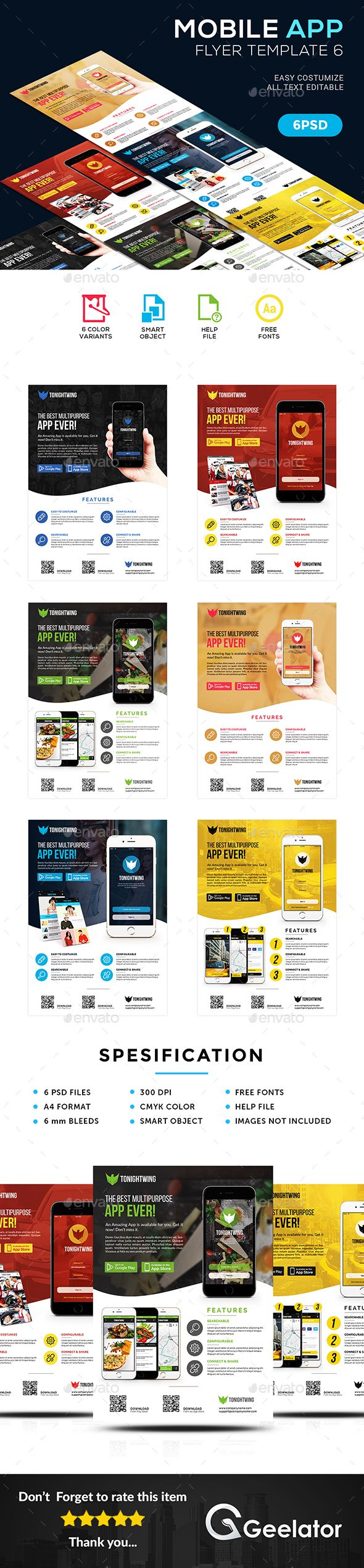 #Mobile #App #Flyer Template 6 - Commerce Flyers Download here: https://graphicriver.net/item/mobile-app-flyer-template-6/19554983?ref=alena994