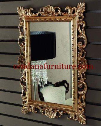 Cermin Hias Mahkota Kerang Emas