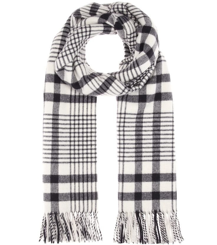 Canada Check cream and navy virgin wool scarf