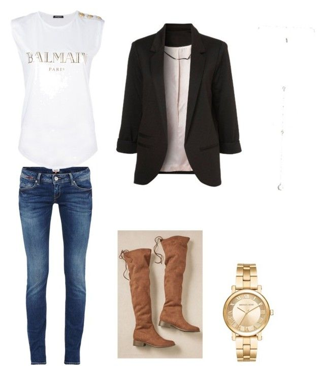 Sin título #9 by sil-mena on Polyvore featuring polyvore, fashion, style, Balmain, Michael Kors, Luv Aj and clothing