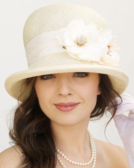 Off White, Cream Straw Hat. 1920s Cloche. Wedding Hat. Great Gatsby Hat , Downton Abbey Hat. Formal Hat, Garden Party Tea Party Hat.