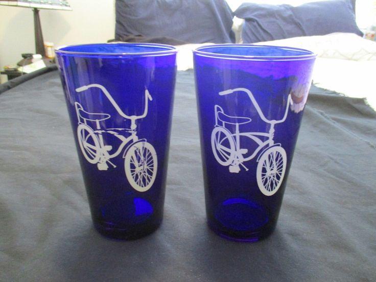 Libbey Cobalt Glass 'enjoy The Ride' Vintage 1960's -70's Banana Seat Bike