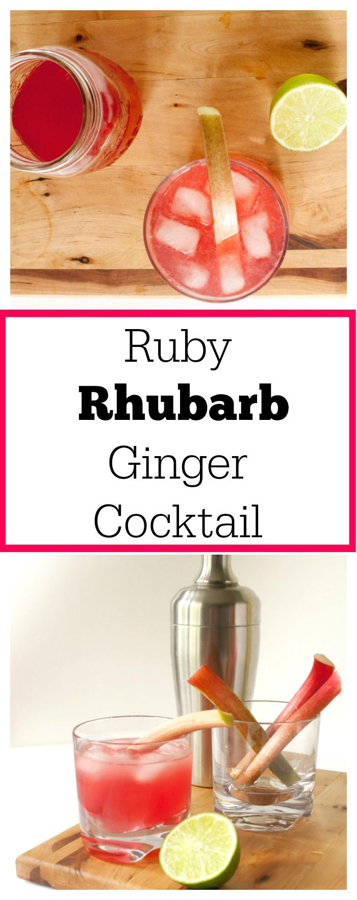 Spice up your summer with: RUBY RHUBARB GINGER COCKTAIL. This herbal refresher is just sweet enough with red raspberries, ginger, lime, rhubarb spirits, gin, and homemade Rhubarb Ginger Syrup | @TspCurry. For more healthy cocktail recipes: TeaspoonOfSpice.com