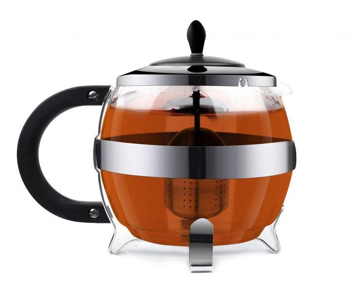 Szklany zaparzacz do herbaty 1,2l AMO z wkładem na herbatę