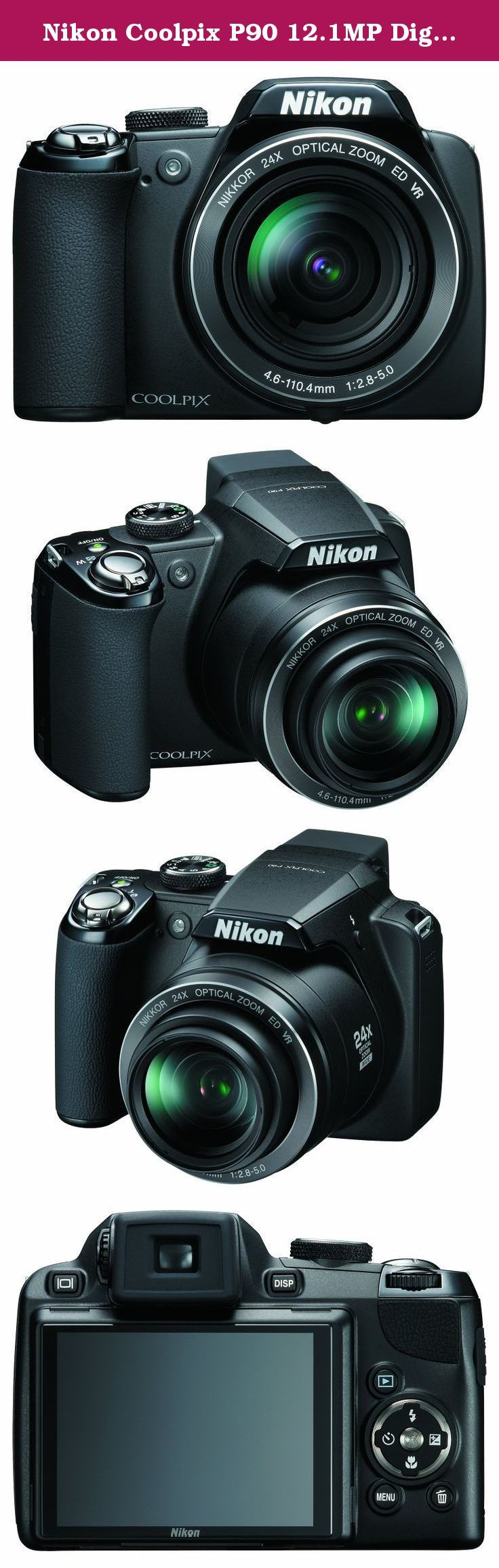 Nikon Coolpix P90 12.1MP Digital Camera with 24x Wide Angle Optical Vibration Reduction (VR) Zoom and 3 inch Tilt LCD. Experience even closer encounters with Nikon's Coolpix P90, with 12.1 effective megapixels and an incredible 24x optical Zoom-NIKKOR ED glass lens for stunning prints as large as 16x20 inches. The camera's bright, 3.0-inch high-resolution vari-angle LCD and Electronic Viewfinder make it easy to compose and share your pictures. And Nikon's new 4 Way VR Image Stabilization...