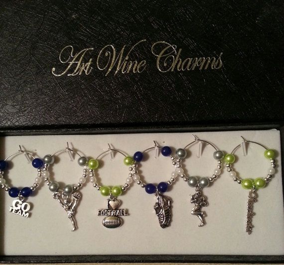 6 Seattle Sea Hawks Football themed Wine Charms by PickinsGalore, $18.57