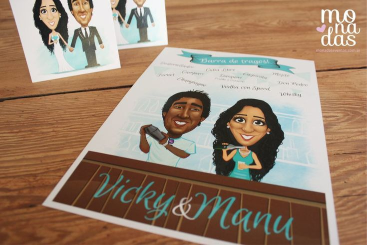 Menú para la barra! #invitaciones #participaciones #monadas #caricaturas #ilustración #boda #casamiento #wedding #diseño http://bit.ly/invitaciones_boda_casamiento_viajeros