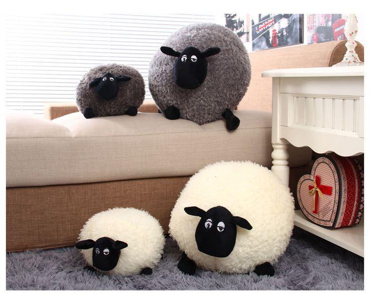 Новый 1 шт. прекрасный фаршированная мягкая плюшевые игрушки подушки овец характер белый / серый дети детские игрушки подарок H0851 купить на AliExpress