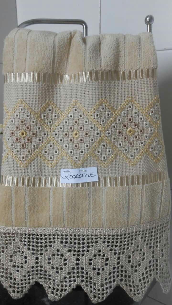 Tejer bordar y calado hermosa toalla