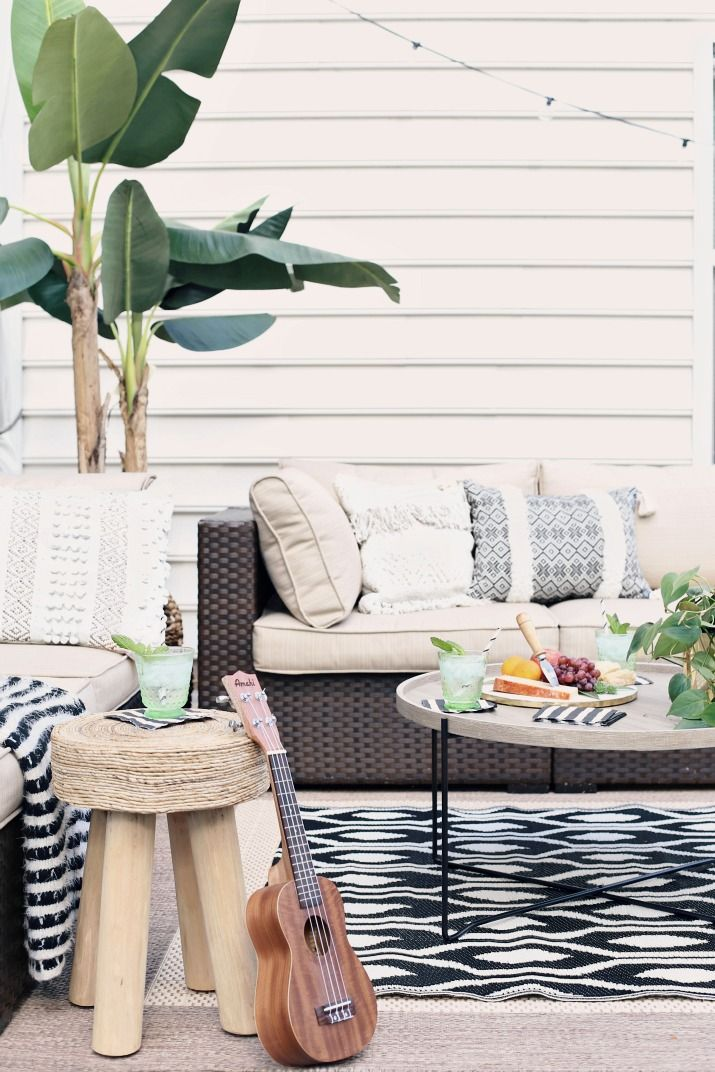 Black Tan Patio Decor With Greenery Patio Decor Outdoor Rooms