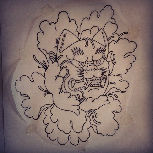 lion kabuki mask tattoo design instagram media by bendawsontattoo 2014 tattoos pinterest. Black Bedroom Furniture Sets. Home Design Ideas