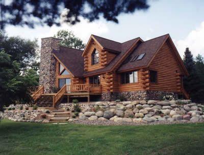 Exterior log home on rock landscape dream home for Log cabin dream homes