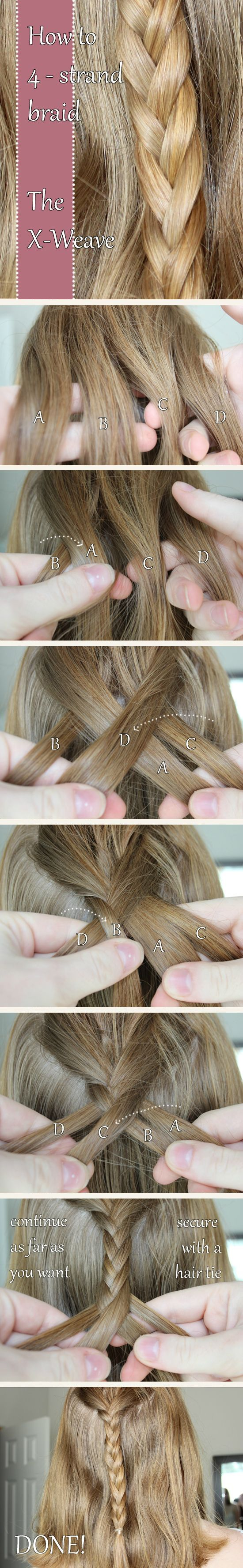 How to 4-strand braid - the X-Weave (xpost /r/FancyFollicles)