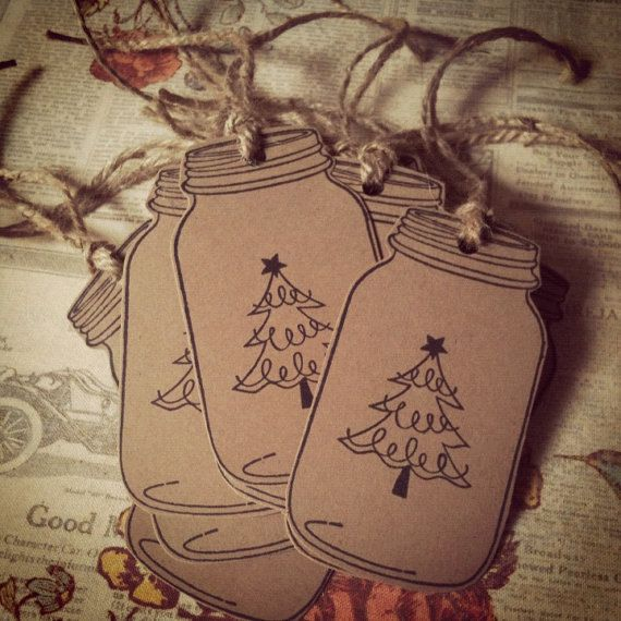 Christmas Mason Jar Tags Kraft Brown Country by DownInTheBoondocks, $6.00